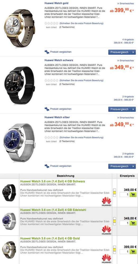 Huawei Watch price Germany