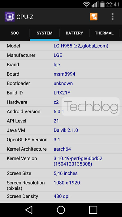 LG G Flex 2 CPUZ