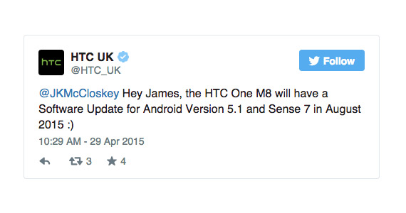 HTC One M8 lollipop update tweet