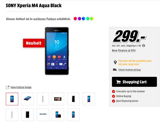 Sony Xperia M4 Aqua 299 euro MediaMarkt