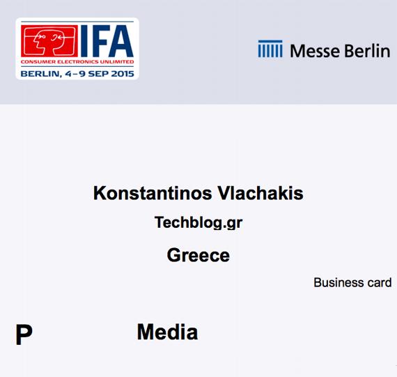 IFA 2015 press badge