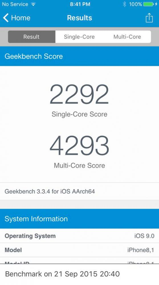 iPhone 6s Geekbench benchmark