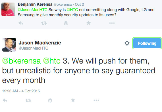 HTC America security updates not twitter