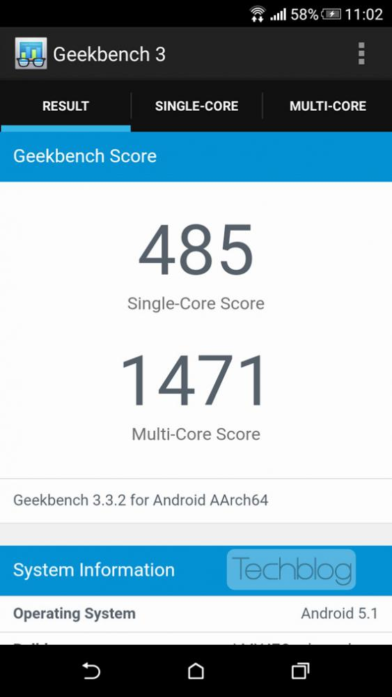 HTC Desire 626 4G GeekBench3 benchmarks