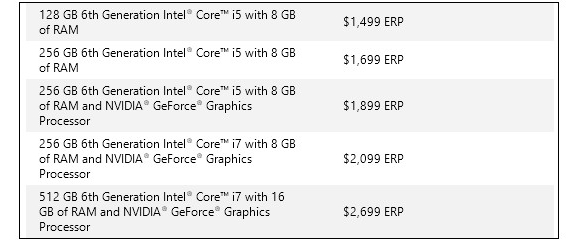 prices Surface  Book official