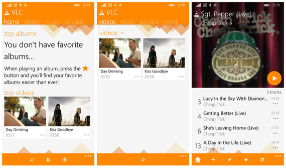 VLC Windows Phone Screenshots
