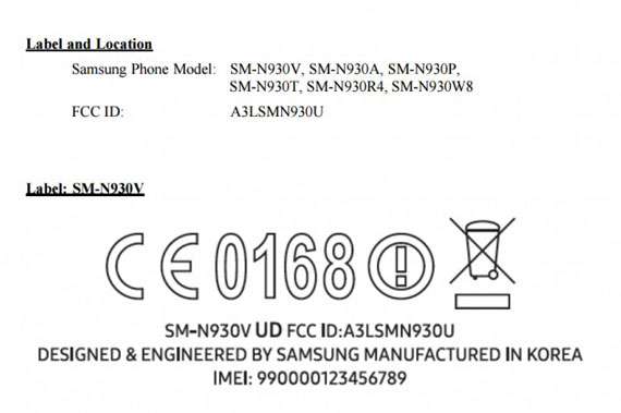 FCC Approval Samsung Galaxy Note 7