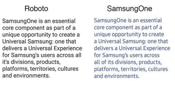 SamsungOne vs Roboto fonts
