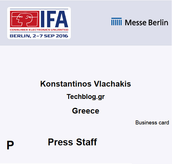 IFA 2016 Press Pass