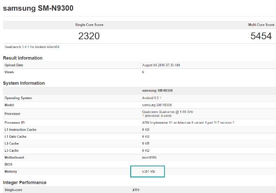 Note 7 6GB RAM