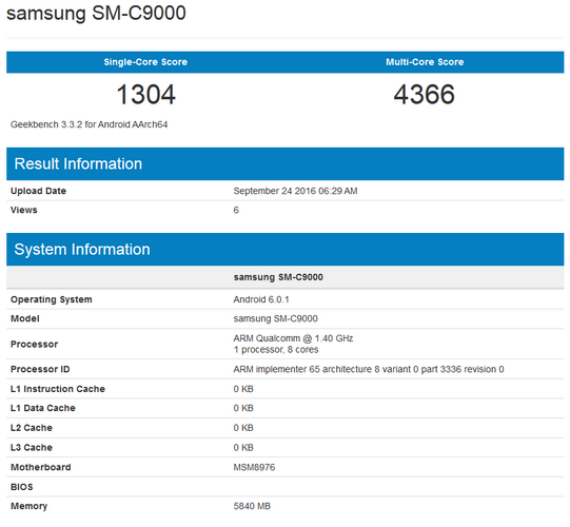 galaxy c9 geekbench