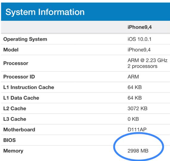 iphone 7 plus 3gb ram