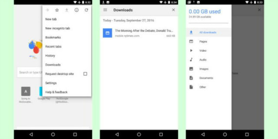 chrome 55 android downloads feature