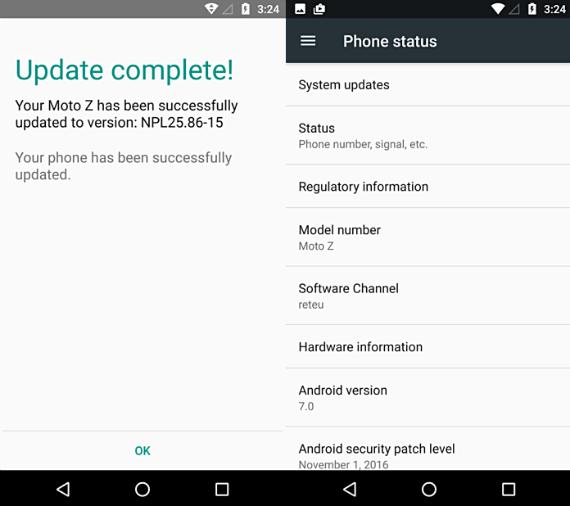 Motorola Moto Z nougat