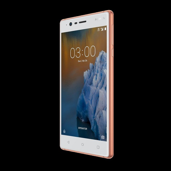 Nokia 3 Copper White front