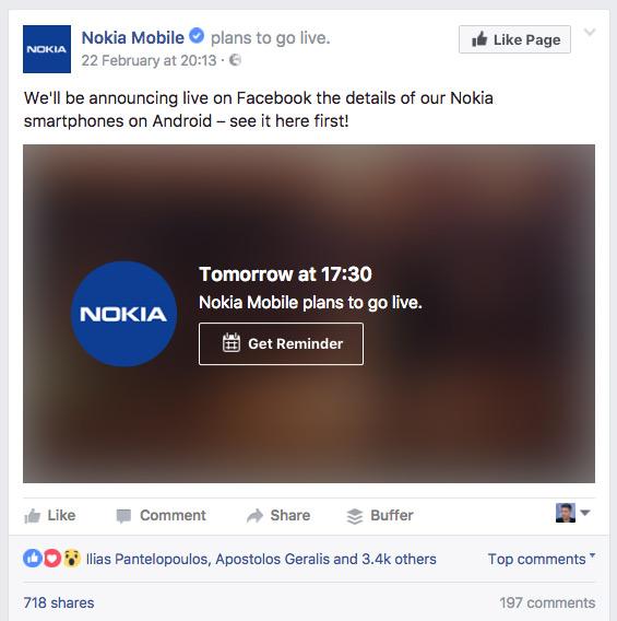 Nokia Mobile MWC 2017 facebook live
