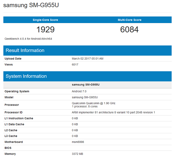 Samsung Galaxy S8 Geekbench