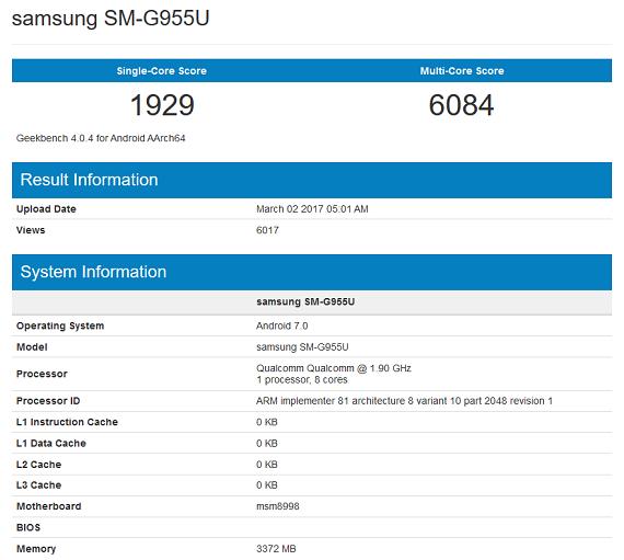 Samsung Galaxy S8 Plus Geekbench