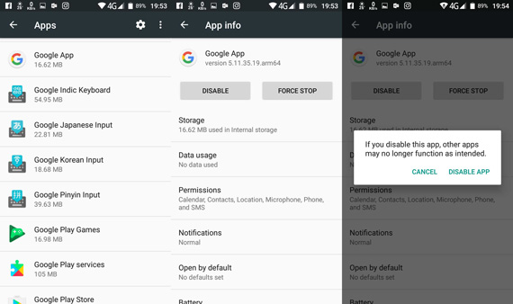disable google app