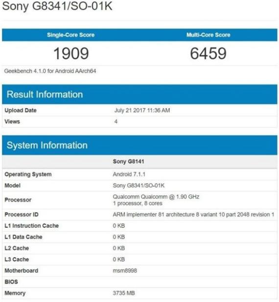 Sony G8341 Geekbench