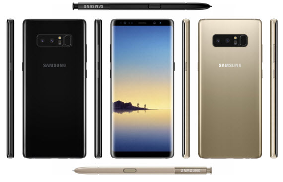 galaxy note 8 midnight black arctic silver