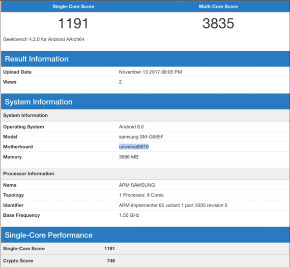 samsung galaxy s9+ possible geekbench test