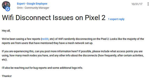 google pixel 2 wifi disconnect issues