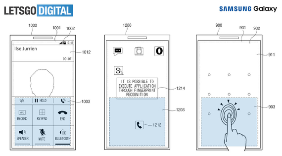 samsung in screen fingerprint patent 1