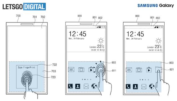 samsung in screen fingerprint patent 2