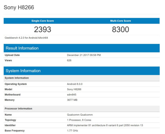 sony xperia h8266 geekbench