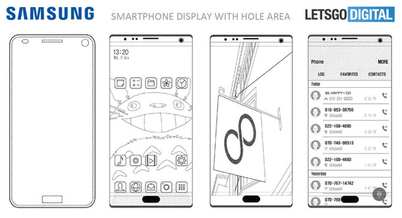 samsung embeded selfie camera in screen patent