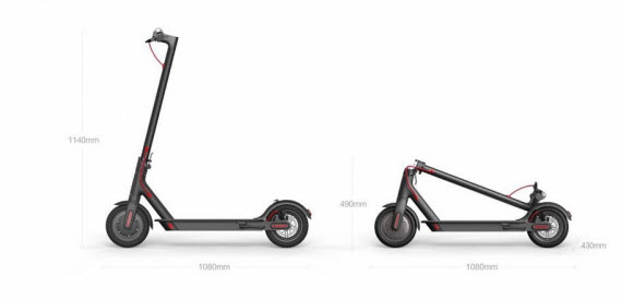 xiaomi electric scooter youth edition size