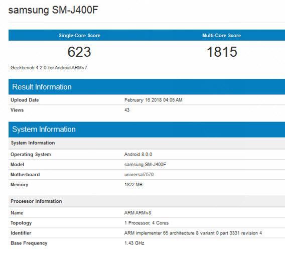 Samsung j4 geekbench