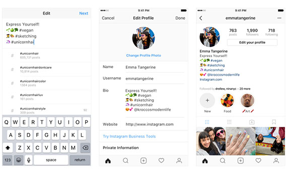 Instagram: Δυνατότητα προσθήκης hashtags και profile links στο Bio