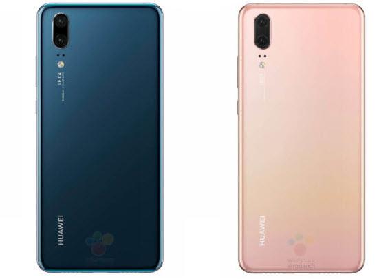 huawei p20 blue pink rear