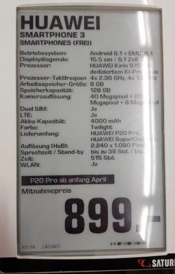 huawei p20 pro specs leak