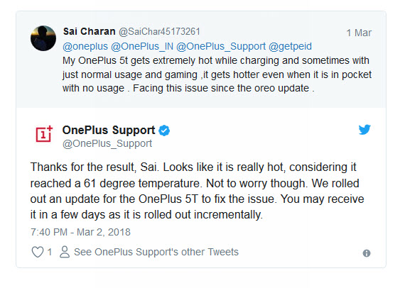 oneplis 5t temperature tweet