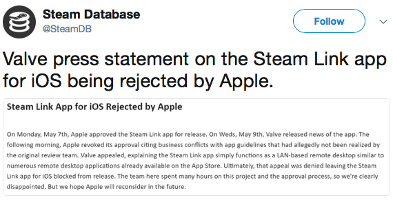 apple rejects steam ios