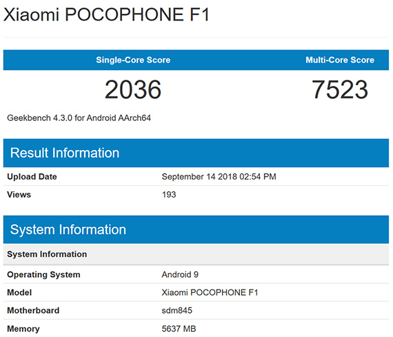 pocophone geekbench androidpie