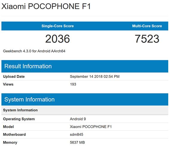 Το Pocophone F1 με Android 9 Pie στο GeekBench