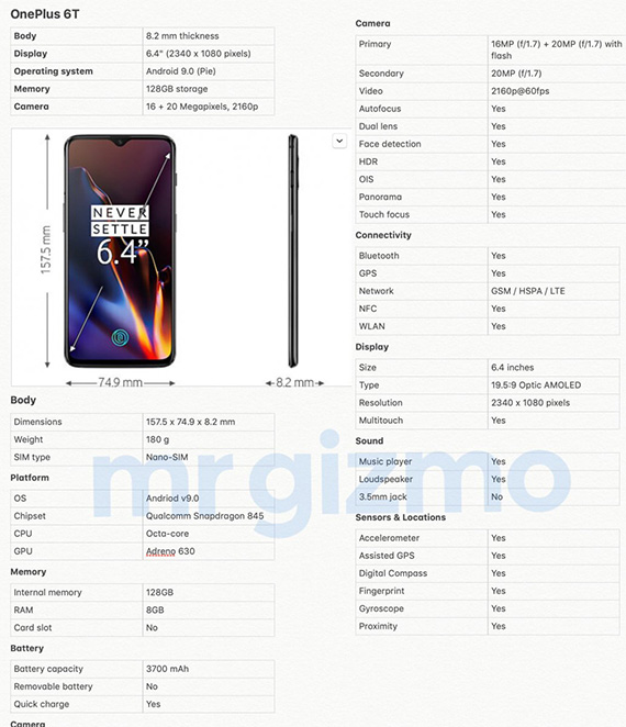 OnePlus6T 6