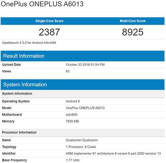 OnePlus 6T με Snapdragon 845, 8GB RAM και Android Pie στο Geekbench