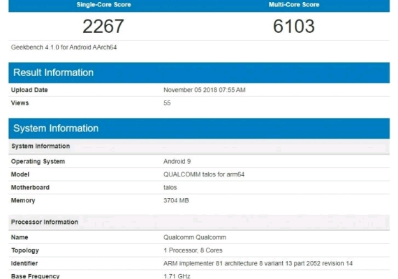 Snapdragon 675 Geekbench