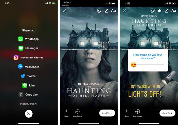 Netflix app Instagram share