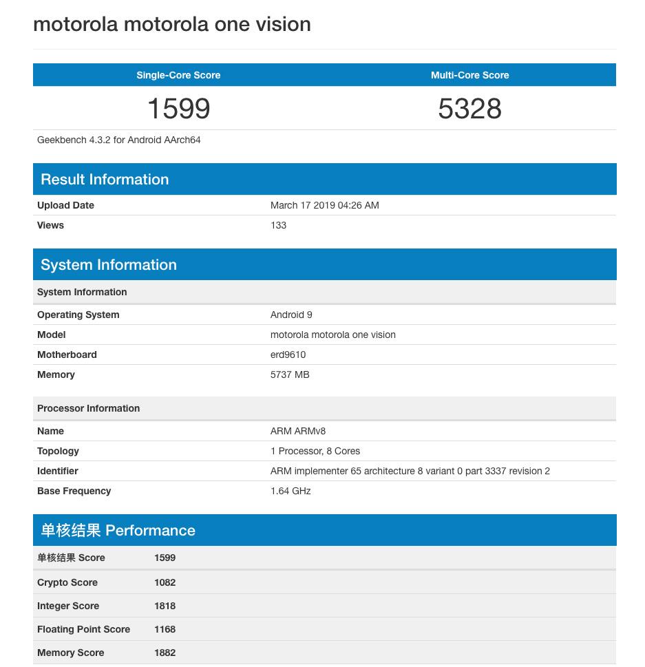 Exynos 9610 για το Motorola P40 Vision που εμφανίστηκε στο Geekbench