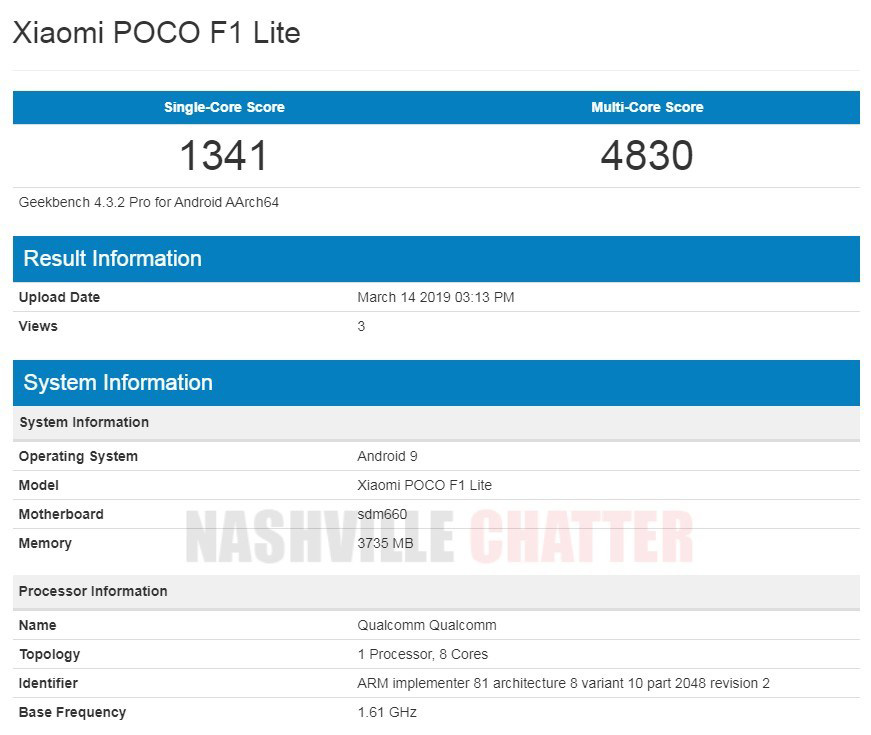 Xiaomi POCO F1 Lite: Εμφανίστηκε στο Geekbenck με Snapdragon 660 και 4GB RAM
