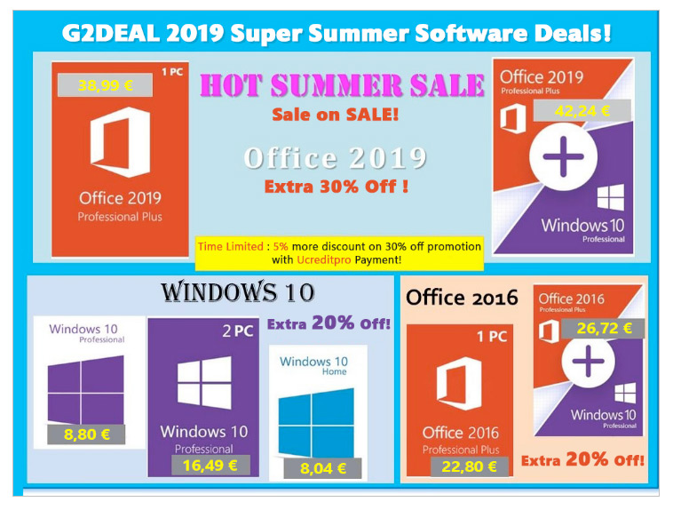 Super Summer Sales σε λογισμικό μόνο στο G2DEAL