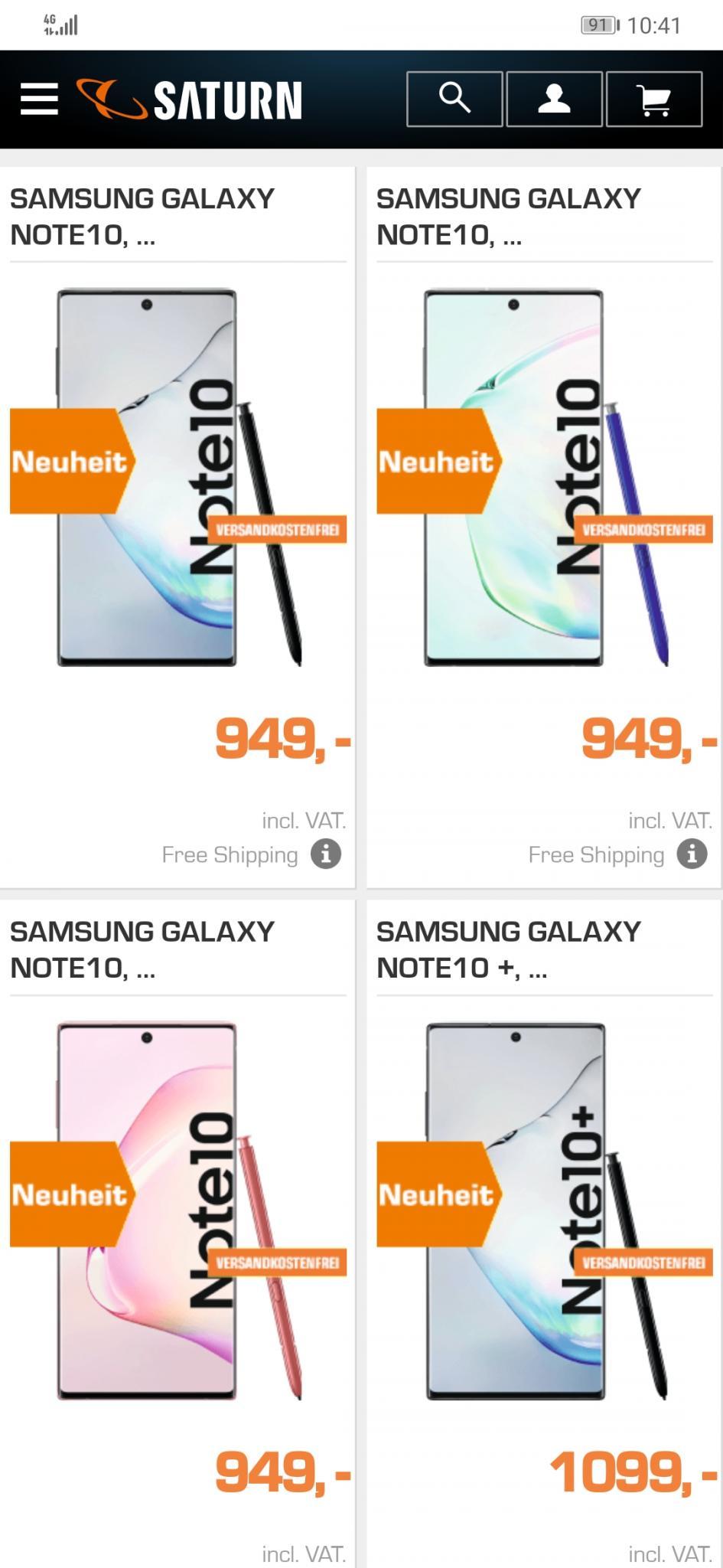 Galaxy Note 10+ τιμή 1099 ευρώ, Galaxy Note 10 τιμή 949 ευρώ [Γερμανία]