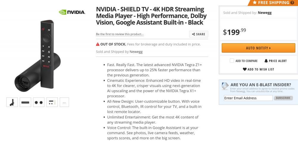 Nvidia Shield TV Amazon Design Specs