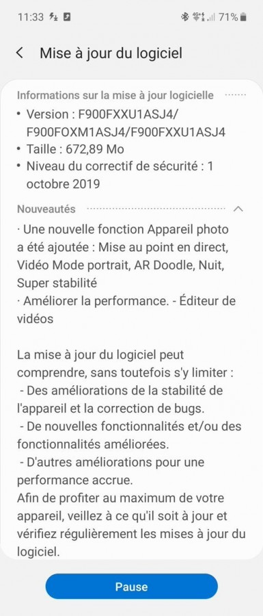 Samsung Galaxy Fold first mayor update